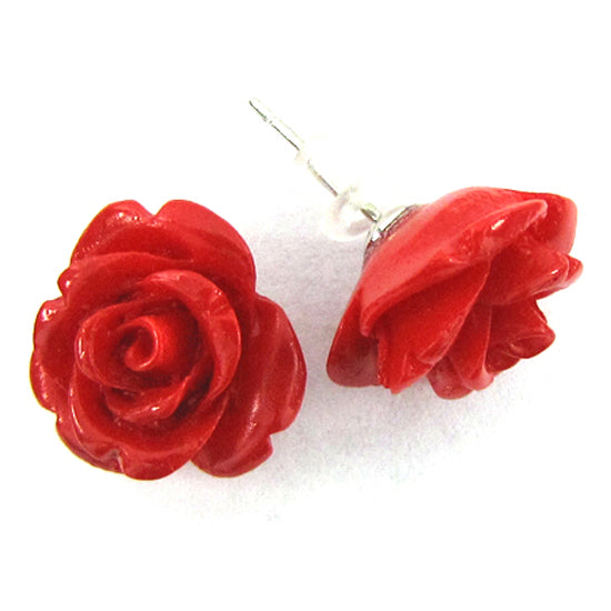 15mm synthetic coral carved rose flower earring pair red