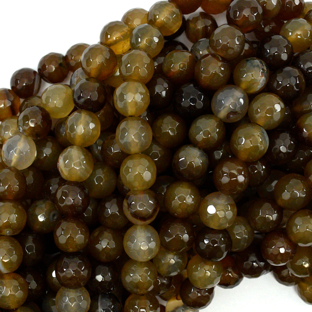 "10mm faceted brown agate round beads 15"" strand S1"