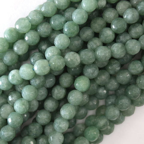 "8mm faceted sapphire blue jade round beads inlaid with rhinestone 15"" strand"