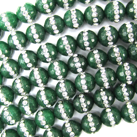 "8mm faceted emerald green jade round beads inlaid with rhinestone 15"" strand"