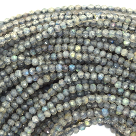 "1.5mm - 2mm faceted grey labradorite round beads 13"" strand seed"