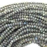 1.5mm - 2mm faceted grey labradorite round beads 13