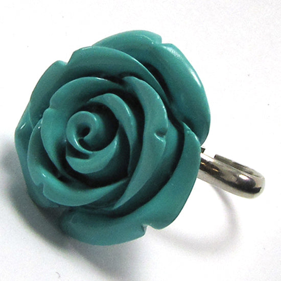 24mm green synthetic coral carved rose flower adjustable ring size 5-7