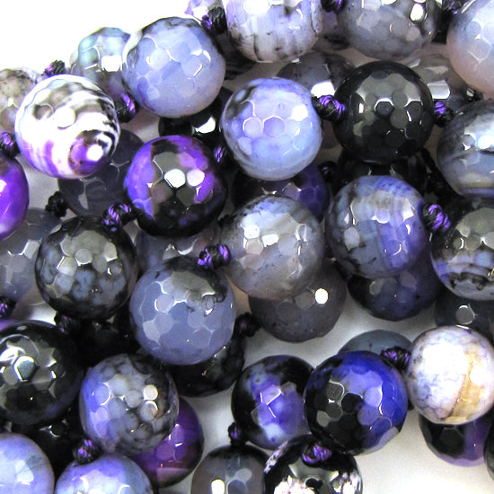 "12mm faceted agate round beads 14"" strand black purple"