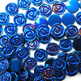 4x12mm blue hematite carved rose flower beads 15
