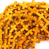 16mm orange turquoise cross beads 16