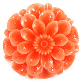 2 pieces 30mm synthetic pink coral carved chrysanthemum flower pendant bead