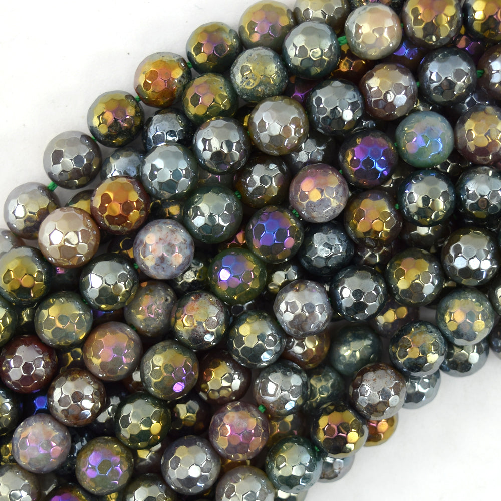 "Mystic Titanium Faceted Indian Agate Round Beads 15"" 4mm 6mm 8mm 10mm 12mm"