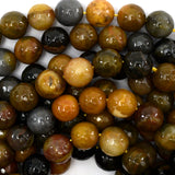 10mm faceted petrified wood agate round beads 15