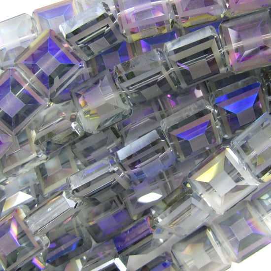 "13mm faceted frost crystal square beads 16"" strand blue"