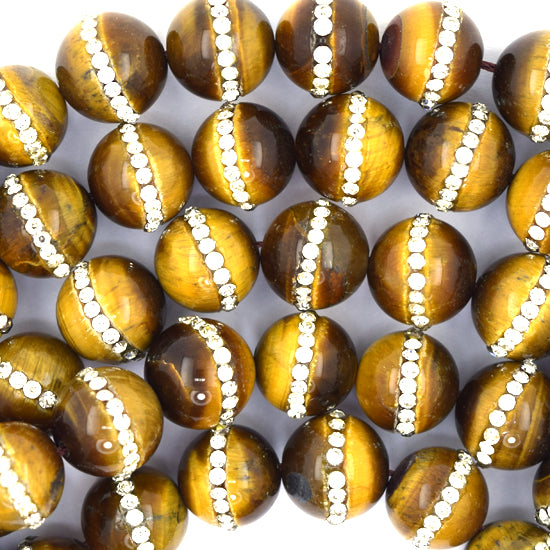 "12mm tiger eye round beads with rhinestone inlaid 15"" strand"