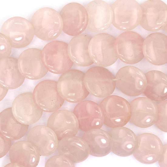 "16mm rose quartz lentil coin beads 13"" strand"