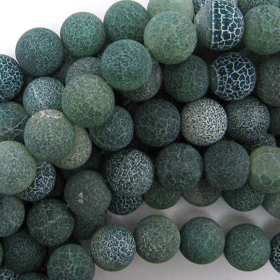 "14mm matte green fire agate round beads 15"" strand"