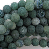 14mm matte green fire agate round beads 15