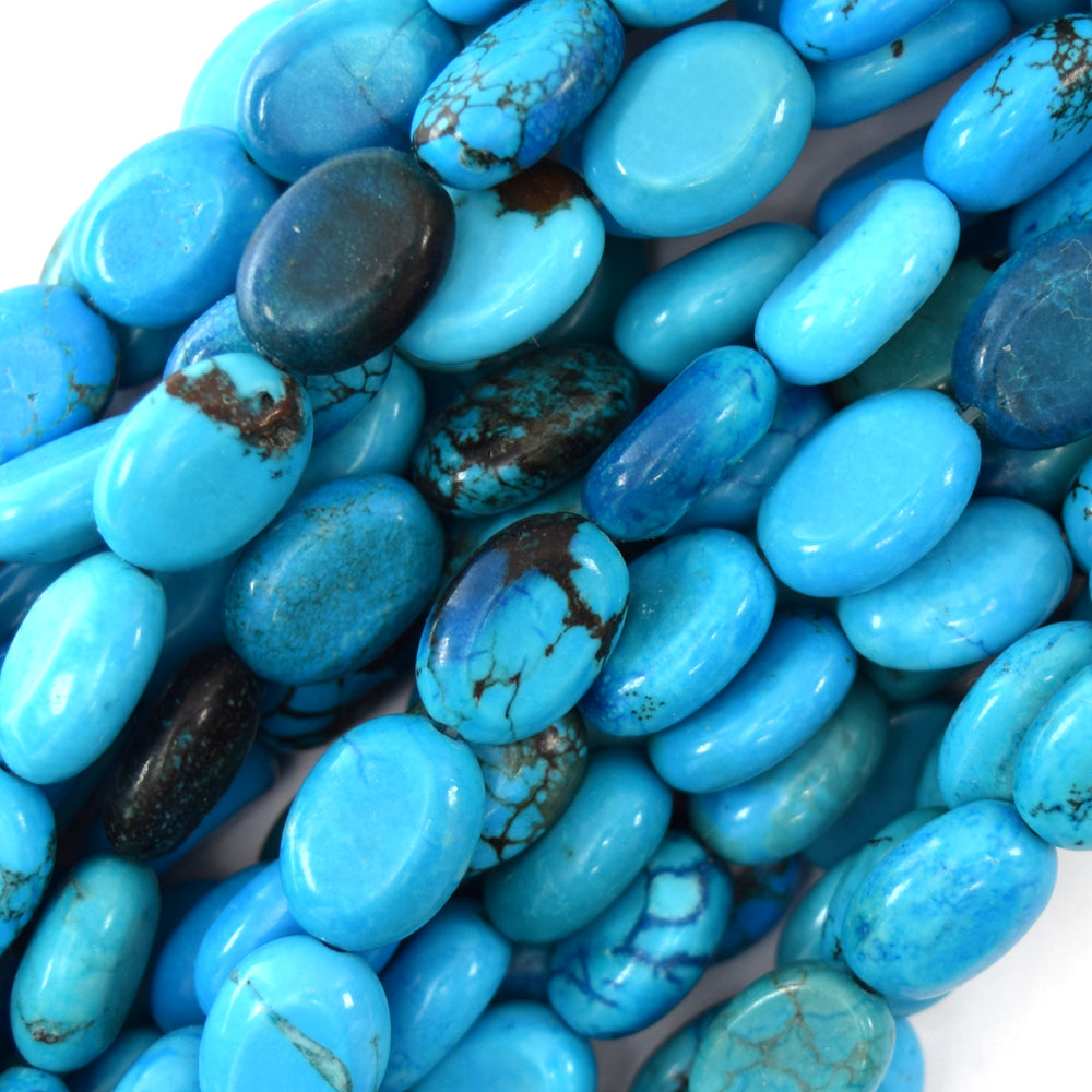 "14mm blue turquoise flat oval beads 16"" strand S1"