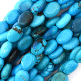 14mm blue turquoise flat oval beads 16