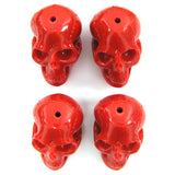 4 26mm synthetic coral carved skull pendant bead red