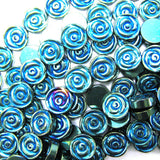 4x12mm green blue hematite carved rose flower beads 15