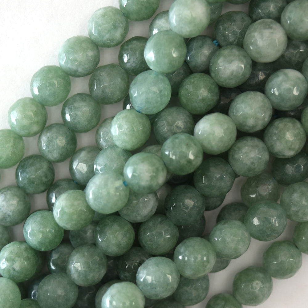 "Faceted Burma Colored Jade Round Beads 15"" Strand 4mm 6mm 8mm 10mm 12mm"
