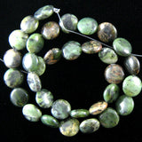 12mm green jasper coin beads 16