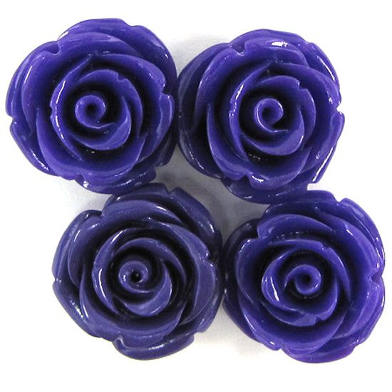 4 20mm synthetic coral carved rose flower pendant bead purple