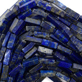 13mm natural blue lapis lazuli side tube beads 16