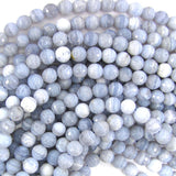8mm faceted blue lace agate round beads 15.5