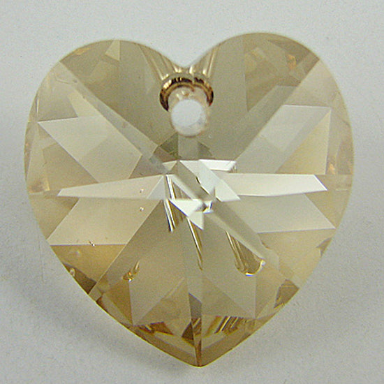 2 pieces 18mm Swarovski crystal heart pendant 6202 golden shadow