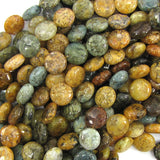 10mm natural ocean jasper coin beads 15.5