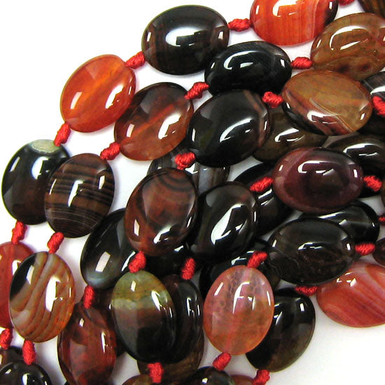 "20mm watermelon tourmaline agate flat oval beads 15.5"" strand"