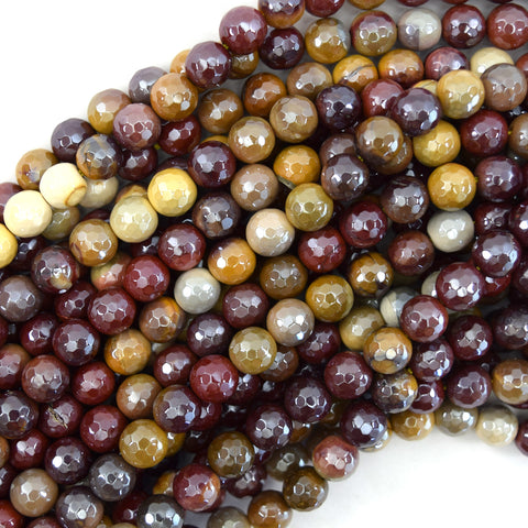"10mm faceted mookaite round beads 15.5"" strand mookite"