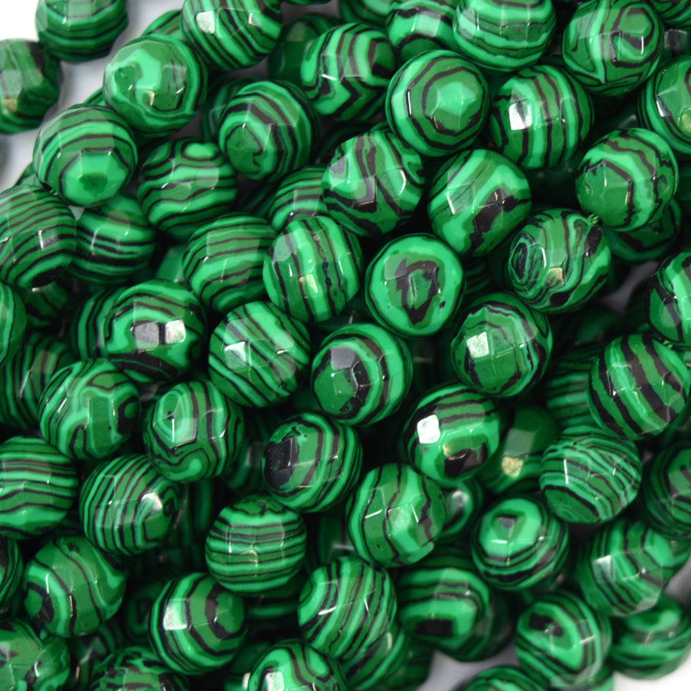 "10mm faceted synthetic green malachite round beads 15"" strand"