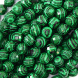 10mm faceted synthetic green malachite round beads 15
