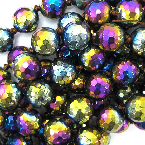 "12mm faceted quartz round beads 14"" strand rainbow"