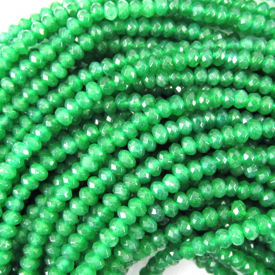 "3mm faceted green jade rondelle beads 14.5"" strand"