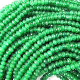 3mm faceted green jade rondelle beads 14.5
