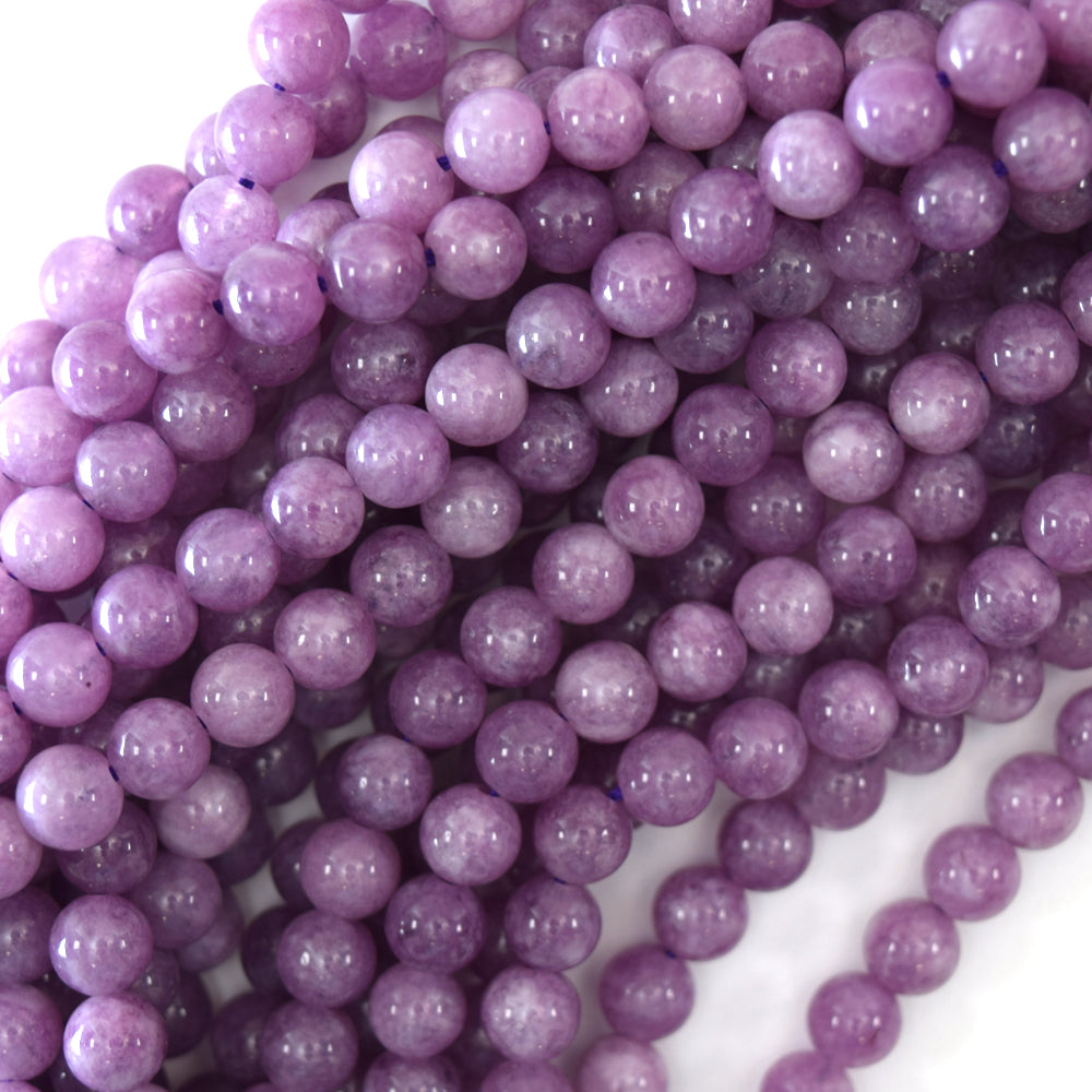 "Purple Lepidolite Colored Quartz Round Beads 15.5"" Strand 4mm 6mm 8mm 10mm 12mm"