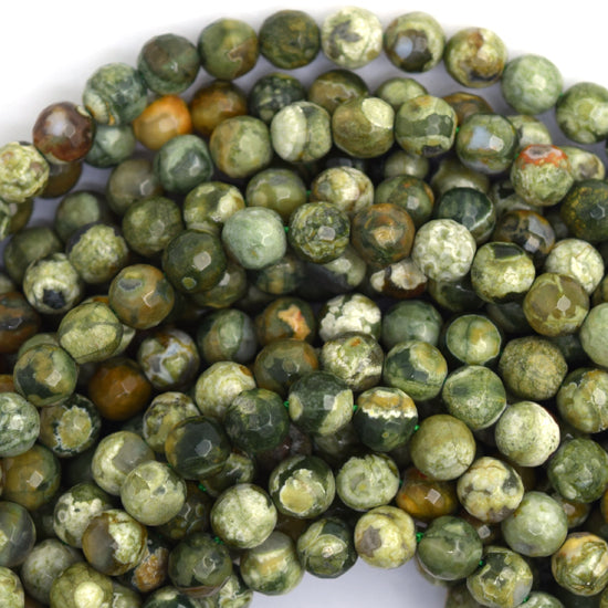 "4mm natural faceted green rhyolite round beads 15.5"" strand"