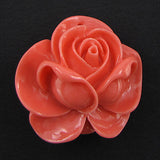 4 pieces 34mm synthetic coral carved rose flower pendant beads pink
