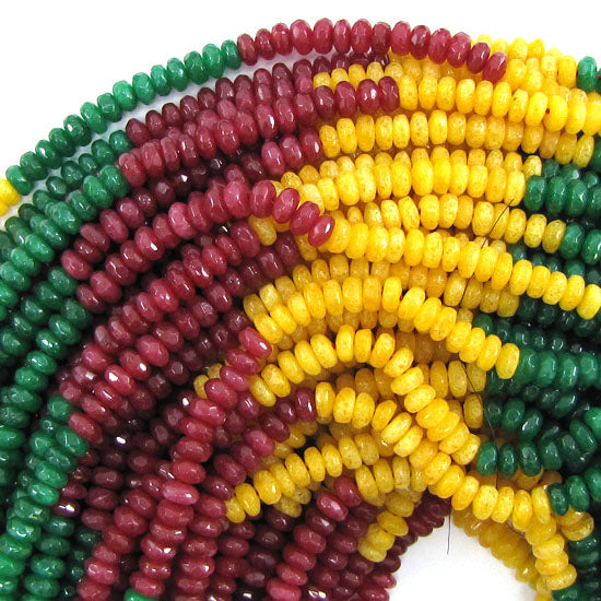 "4mm faceted red blue yellow jade rondelle beads 15"" strand multicolor"