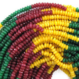 4mm faceted red blue yellow jade rondelle beads 15