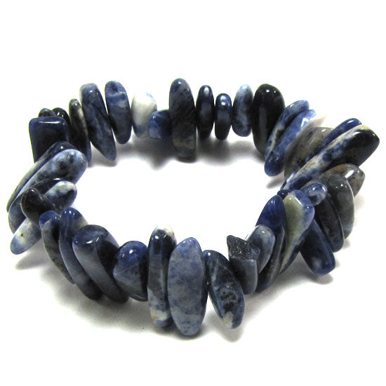 15mm - 20mm blue sodalite stick stretch bracelet 8""