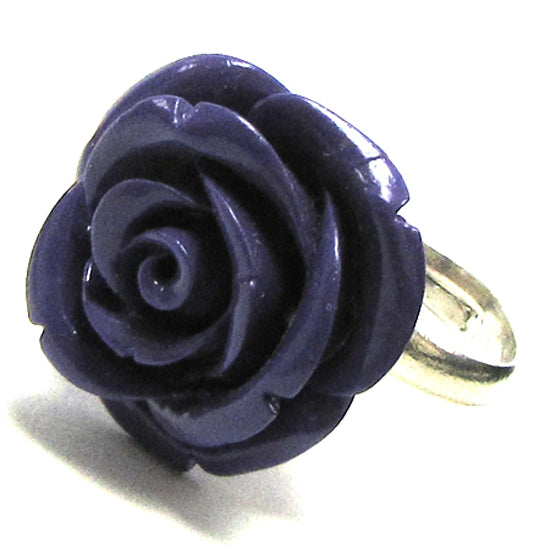 24mm purple synthetic coral carved rose flower adjustable ring size 5-7