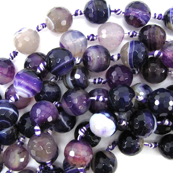 "14mm faceted purple stripe agate round beads 13"" strand"