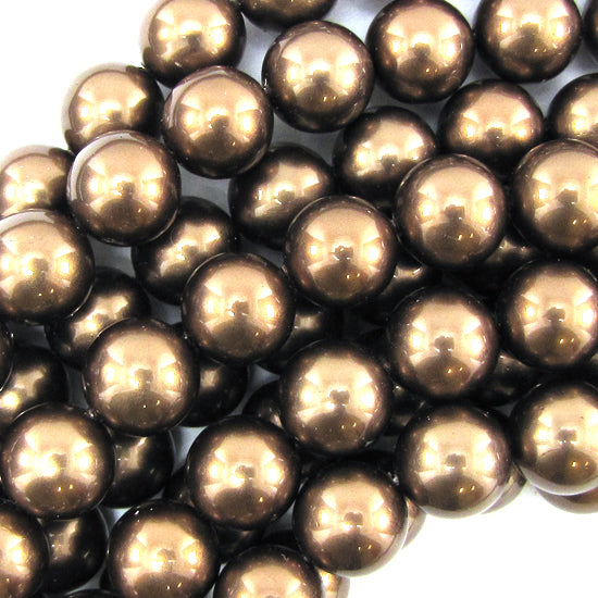 "14mm brown shell pearl round beads 15.5"" strand"