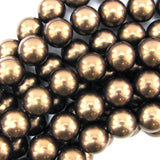 14mm brown shell pearl round beads 15.5