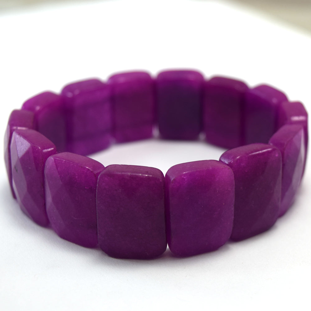 15x20mm faceted dark red jade stretch bracelet 8""