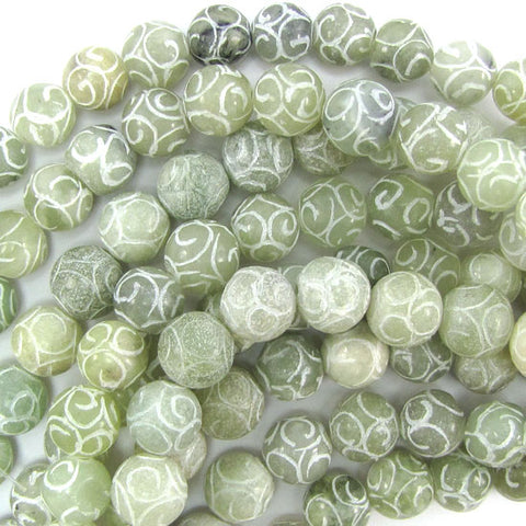 "8mm pressed jade round 15"" strand brown"