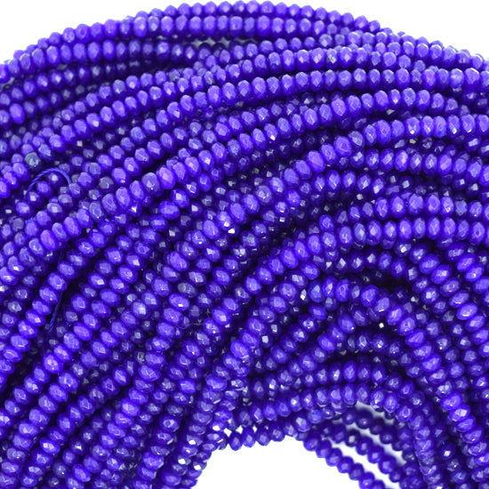 "3mm faceted blue jade rondelle beads 14.5"" strand"