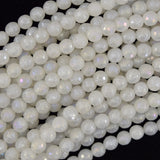 Mystic Titanium Faceted White Jade Round Beads 15.5